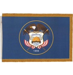 Indoor Utah State Flag with Pole Hem and Fringe