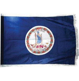 Indoor Virginia State Flag with Pole Hem and Fringe