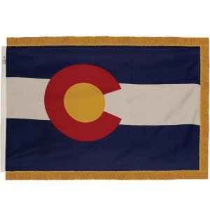 Indoor Colorado State Flag with Pole Hem and Fringe