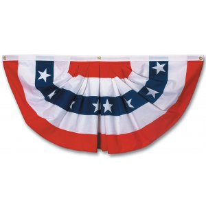 Pleated Full American Fan Flag w/ Stars
