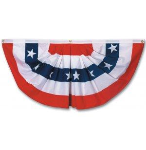 Pleated Full American Fan Flag w/ Stars