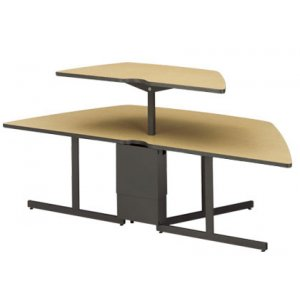 Trapezoid Computer Table Adjustable Height