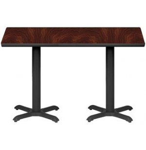 Rectangular Bar-Height Cafe Table with 2 End Bases