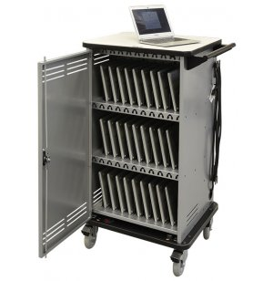 Cloud 32 Chromebook Cart w/Rear Panel & Balloon Wheels