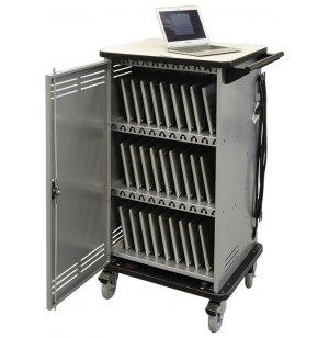 Cloud 32 Chromebook Cart w/Rear Panel & Twin Wheels