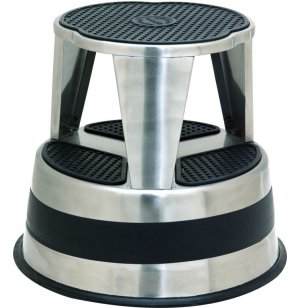Kik-Step Rolling Steel Step Stool - Stainless