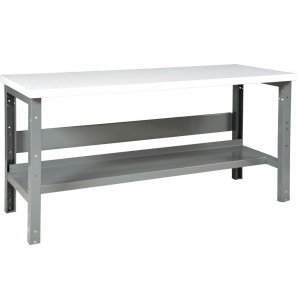 Adj. Height Steel Workbench w/ Shelf - Laminate Top
