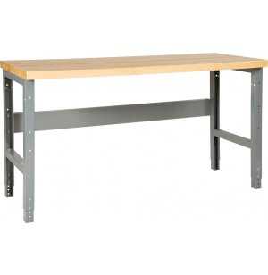 Adj. Height Steel Workbench with Shelf - Maple Top