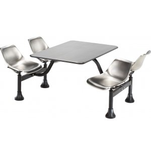 Cluster Seating Table - Stainless Steel Top and Seats