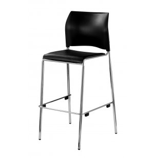Cafetorium Stacking Bar Stool with Padded Seat, Black