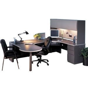 Exec. Peninsula U-shaped Office Desk with Hutch