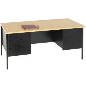Double Pedestal Teachers Desk - Steel Legs