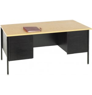 Double Pedestal Teachers Desk - Steel Legs