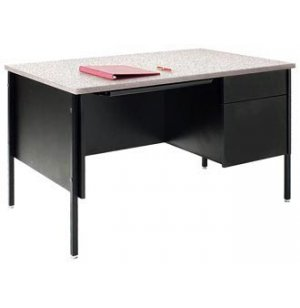 Single Pedestal Teachers Desk - Steel Legs