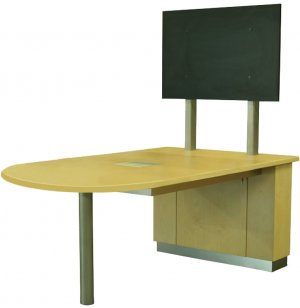 """Crayon 42""""H Standing Media Table - D-Shape"""