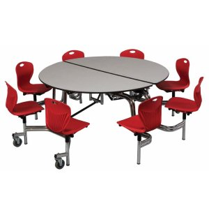 Round Cafeteria Table - 8 Chairs, Chrome Frame, 5