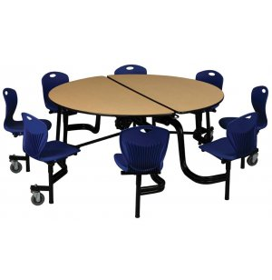 Round Cafeteria Table - 8 Chairs, Powder Coated, 5