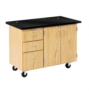 Mobile Instructor's Desk with Rod Sockets