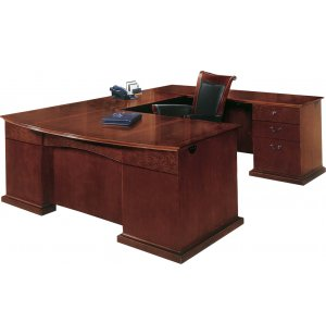 Del Mar Right U Office Desk with Bow Front