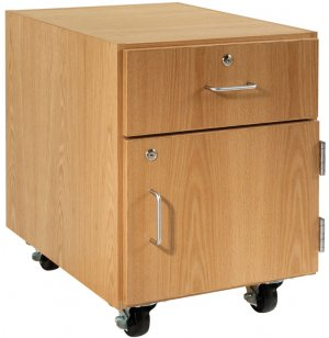 Wooden Mobile Pedestal - 1 Drawer, Right-Hinged Cabinet