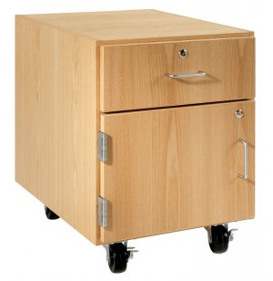 Wooden Mobile Pedestal - 1 Drawer, Left-Hinged Cabinet