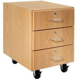 Wooden Mobile Pedestal with 3 Drawers