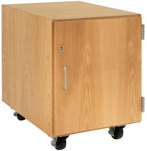 Wooden Mobile Pedestal with Right-Hinged Cabinet