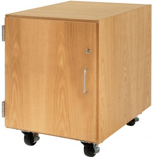 Wooden Mobile Pedestal with Left-Hinged Cabinet