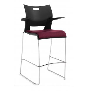 Duet Bar Stool with Arms and Upholstered Seat