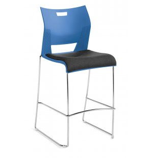 Duet Bar Stool with Upholstered Seat