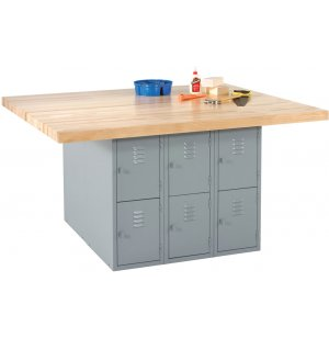 4-Station Steel Workbench w/ 12 Lockers - Maple Top