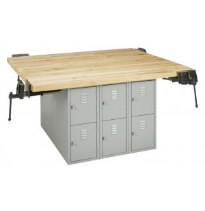 4-Station Steel Workbench w/ 12 Lockers and Vises- Maple Top