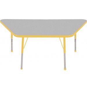 ECR4Kids Adjustable Height Trapezoid Classroom Table