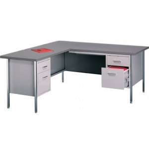 Steel Secretary L-Desk w/Left Return