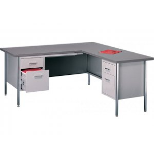 Steel Secretary L-Desk w/Right Return