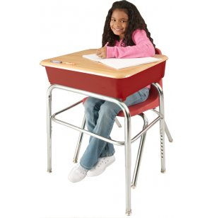 EE2 Adj. Height Open Front School Desk - WoodStone, U Brace