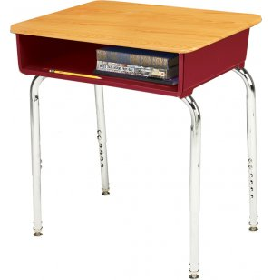 EE2 Adjustable Height Open Front School Desk - Woodstone