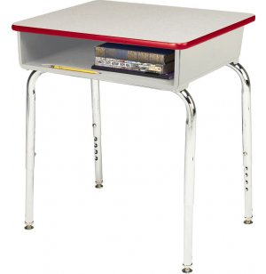 EE Open Front School Desk w/Poly Bookbox Adj Ht