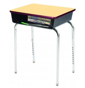 EE Open Front School Desk w/Metal Bookbox Adj Ht