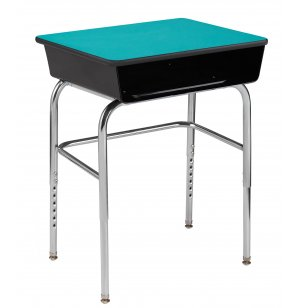 EE Adj. Open Front School Desk - Metal Bookbox, U Brace