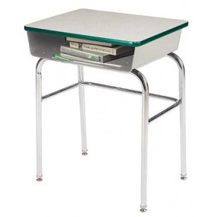 EE Open Front Desk w/Metal Bookbox U-Brace Fixed Ht