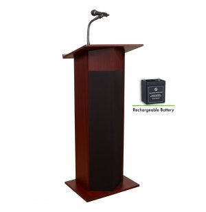 Power Plus Podium with Wireless Mic, Rechargeable Battery
