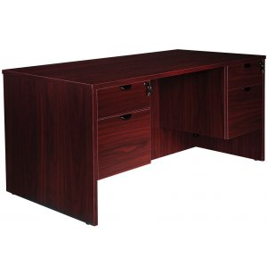 Contemporary 30x66 Double-Pedestal Office Desk