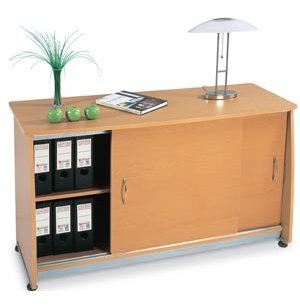 Europa Locking Office Storage Credenza with Sliding Doors