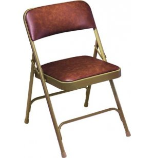 Vinyl Upholstered Double Brace Folding Chair