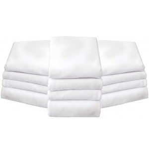 12-Pck Foundations White Fitted Sheets for 2-4