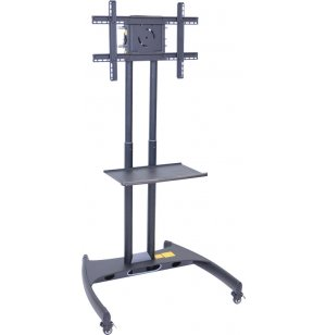 Adjustable Height Flat Panel TV Cart with Shelf
