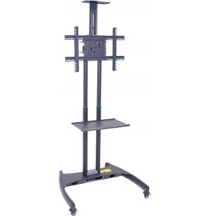 Adjustable Height Flat Panel TV Cart w/ Shelf, Camera Mount