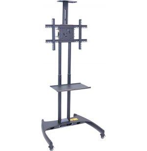 Adjustable Height Flat Panel TV Cart w/ Shelf, Camera Mount