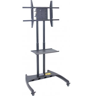 Adj. Height Flat Panel TV Cart w/ Shelf, Rotating Mount